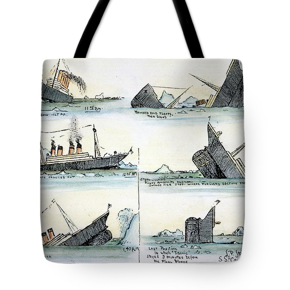 1912 Tote Bag featuring the photograph Sinking Of The Titanic by Granger