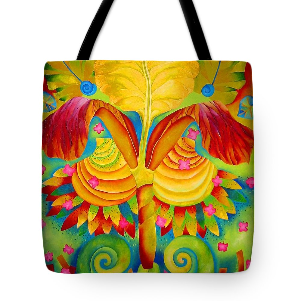 Iris Tote Bag featuring the painting Siri by Elizabeth Elequin