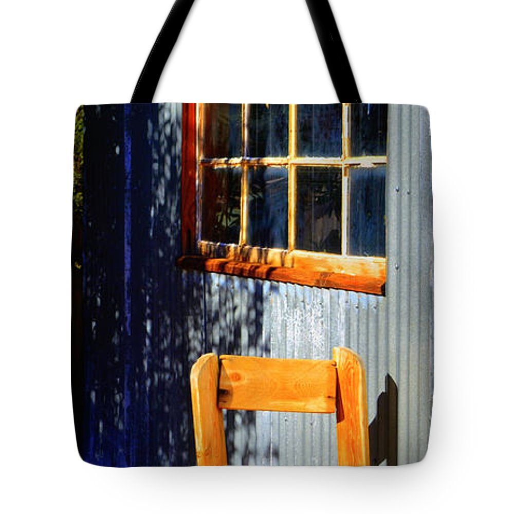 Chair Tote Bag featuring the photograph Sit A Minute by Diane montana Jansson