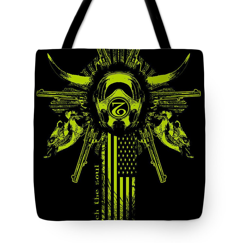Gas Mask Tote Bag featuring the mixed media Six Shooter by Tony Koehl