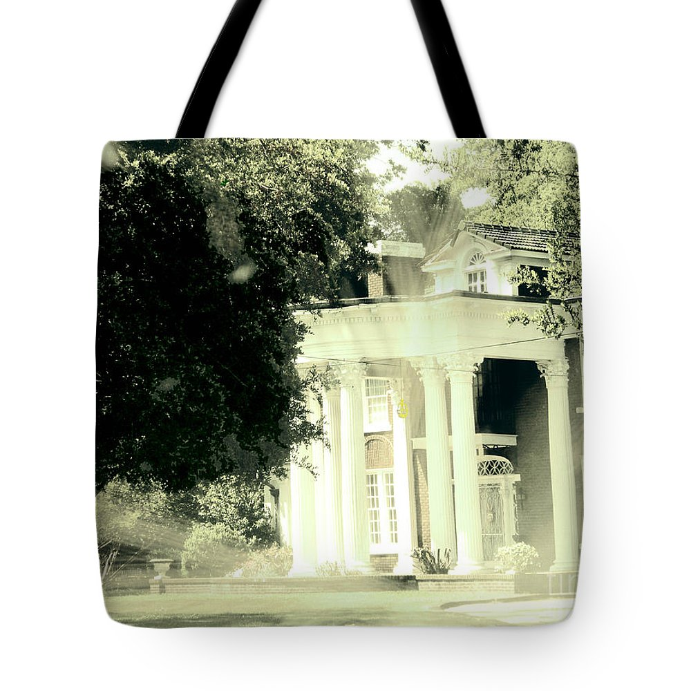 Plantation Tote Bag featuring the digital art Sixty One Ghosts Live Here by Lizi Beard-Ward