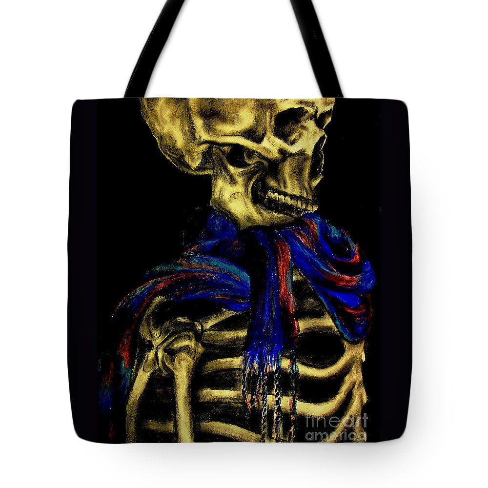 Skeleton Tote Bag featuring the drawing Skeleton Fashion Victim by Tylir Wisdom