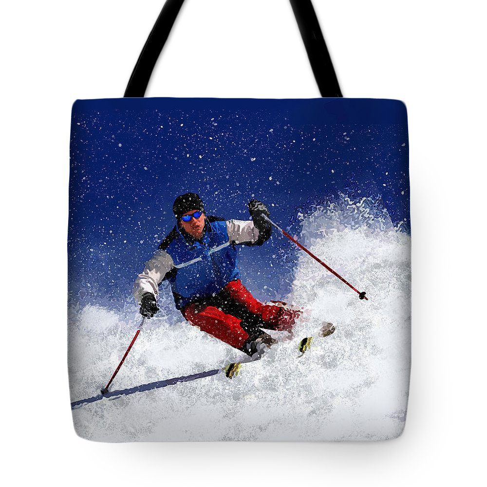 Ski Tote Bag featuring the painting Skiing Down The Mountain by Elaine Plesser