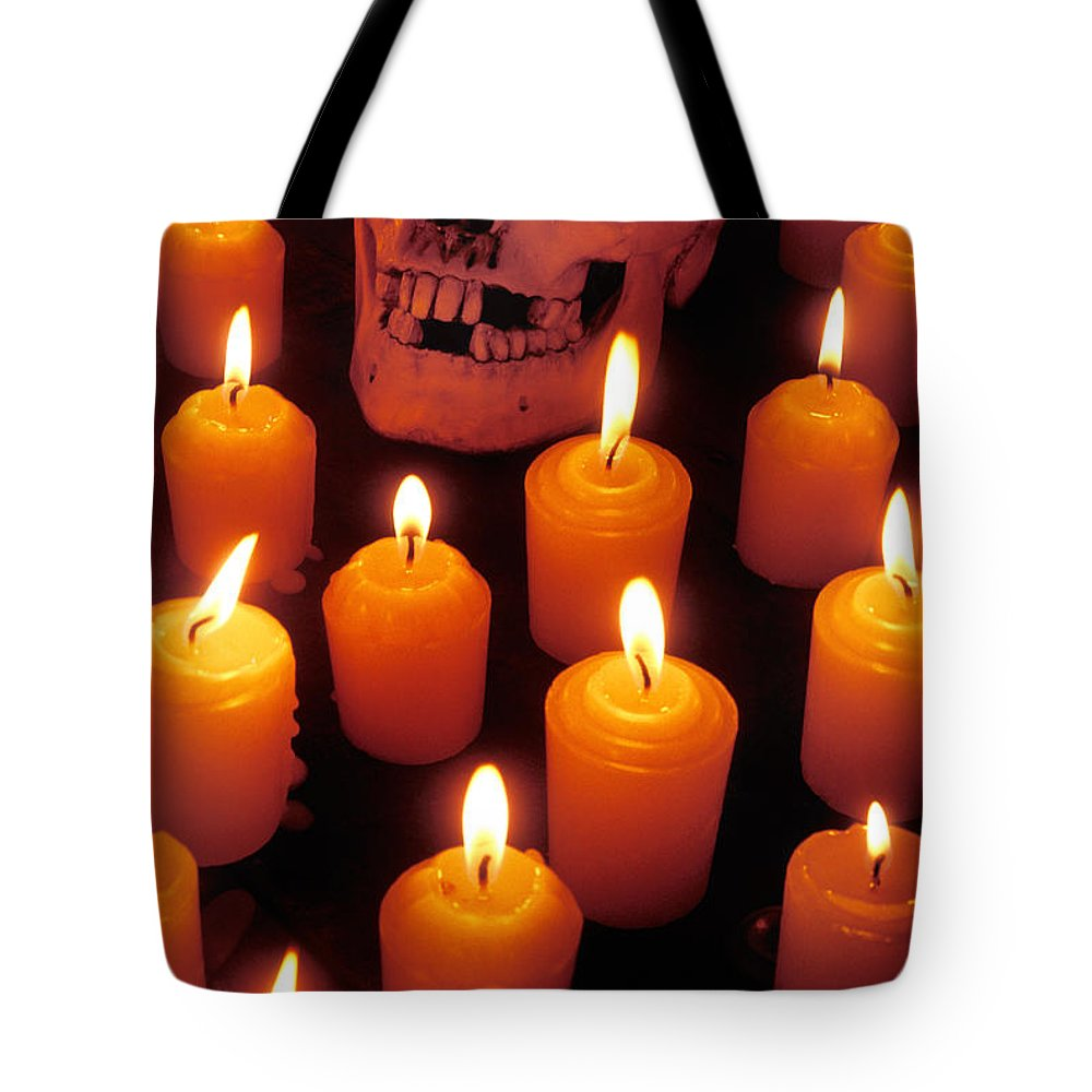 Skull Tote Bag featuring the photograph Skull And Candles by Garry Gay