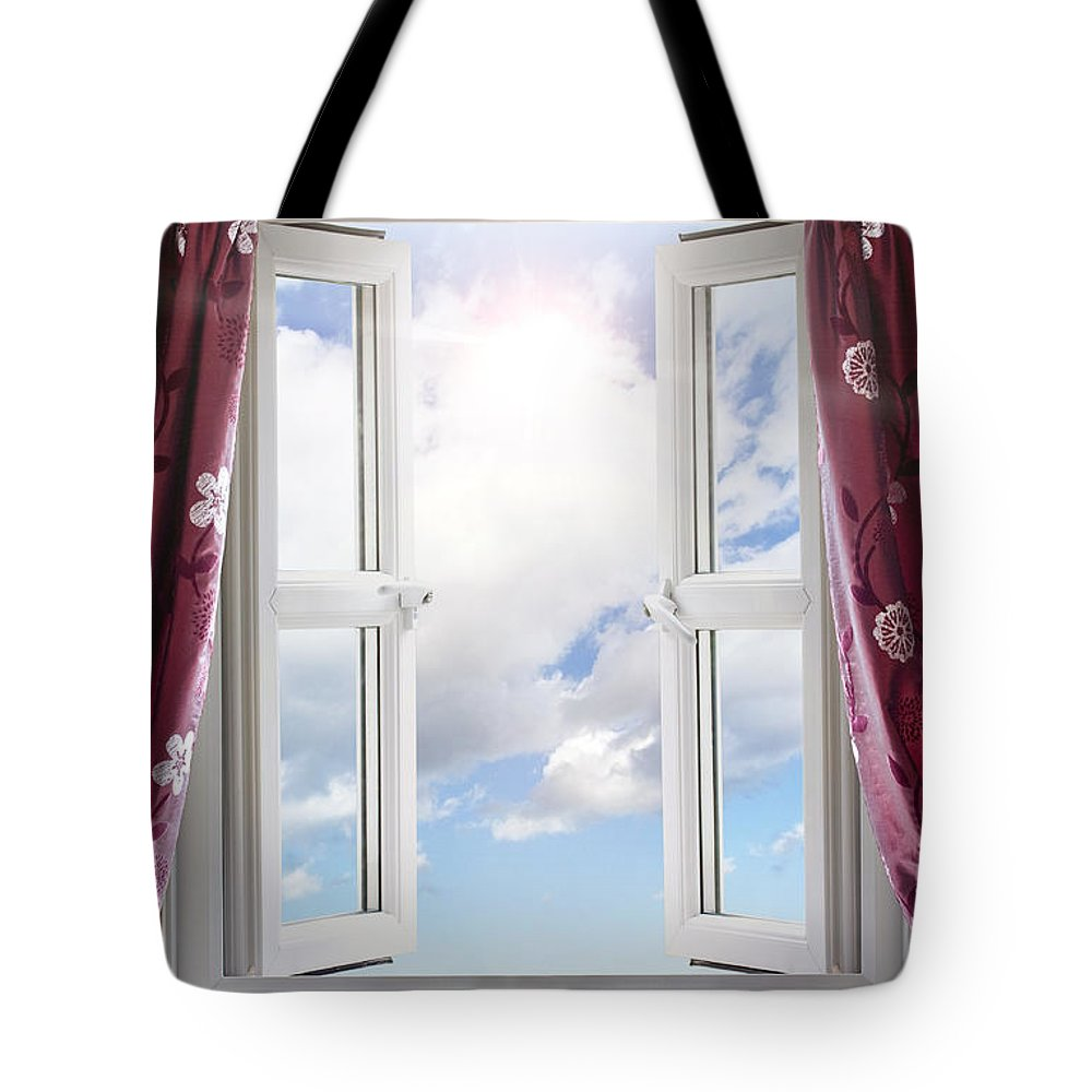 Window Tote Bag featuring the photograph Sky View Through Open Window by Simon Bratt Photography LRPS