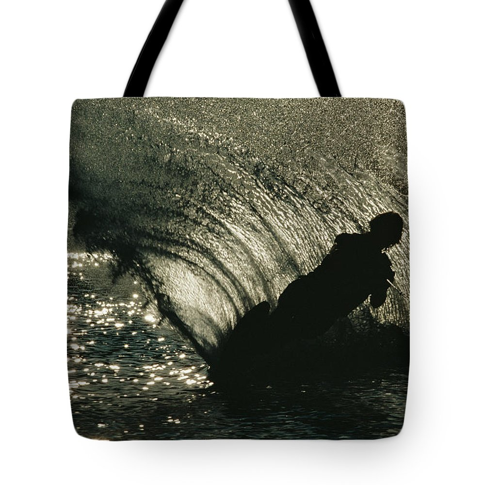 Subject Tote Bag featuring the photograph Slalom Waterskier Silhouette by Skip Brown