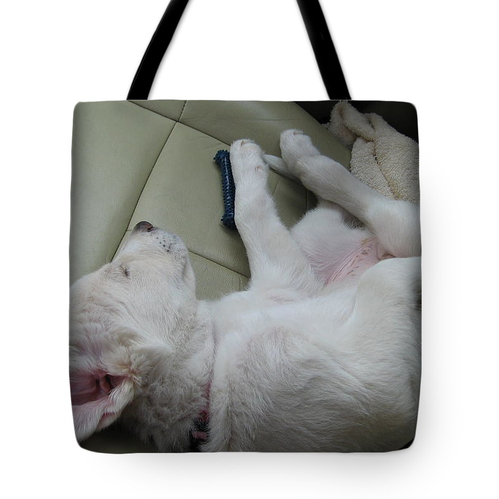 Labrador Tote Bag featuring the photograph Sleeping In The Front Seat by Amy Hosp