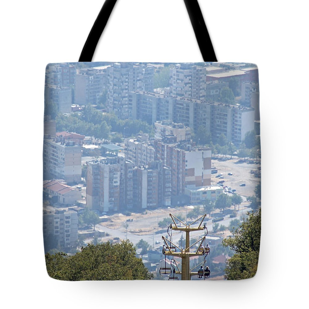 Bulgaria Tote Bag featuring the photograph Sliven Bulgaria From Chair Lift by Tony Murtagh