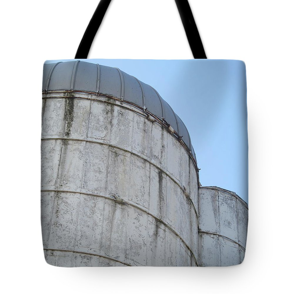 Barn Tote Bag featuring the photograph Small And Big Silos by Tina M Wenger