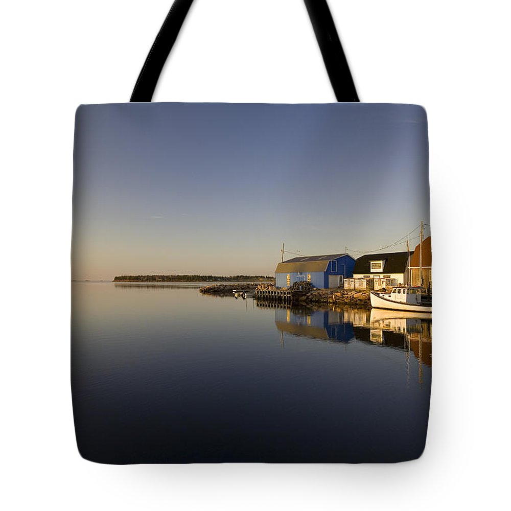 Color Images Tote Bag featuring the photograph Small Harbour And Fishing Boat, Stanley by John Sylvester