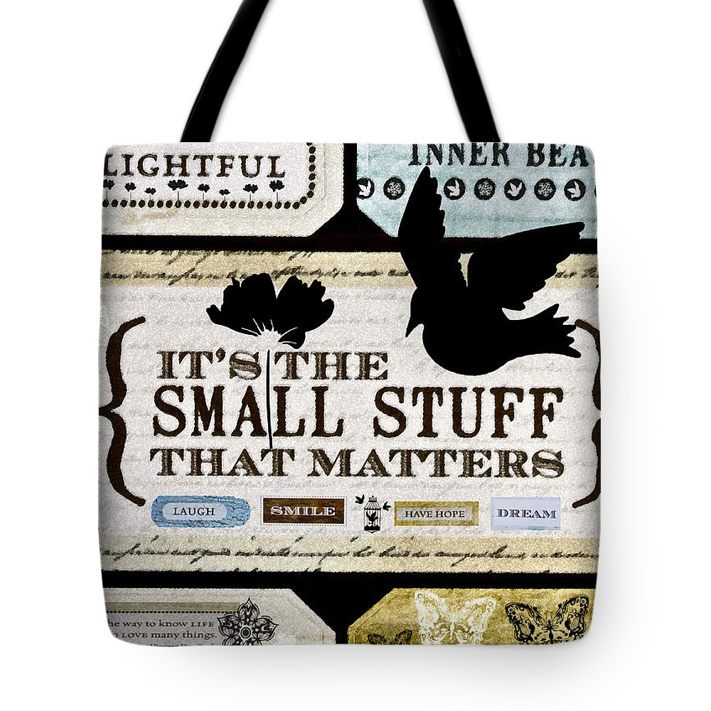 Small Stuff Tote Bag featuring the mixed media Small Stuff by Angelina Vick