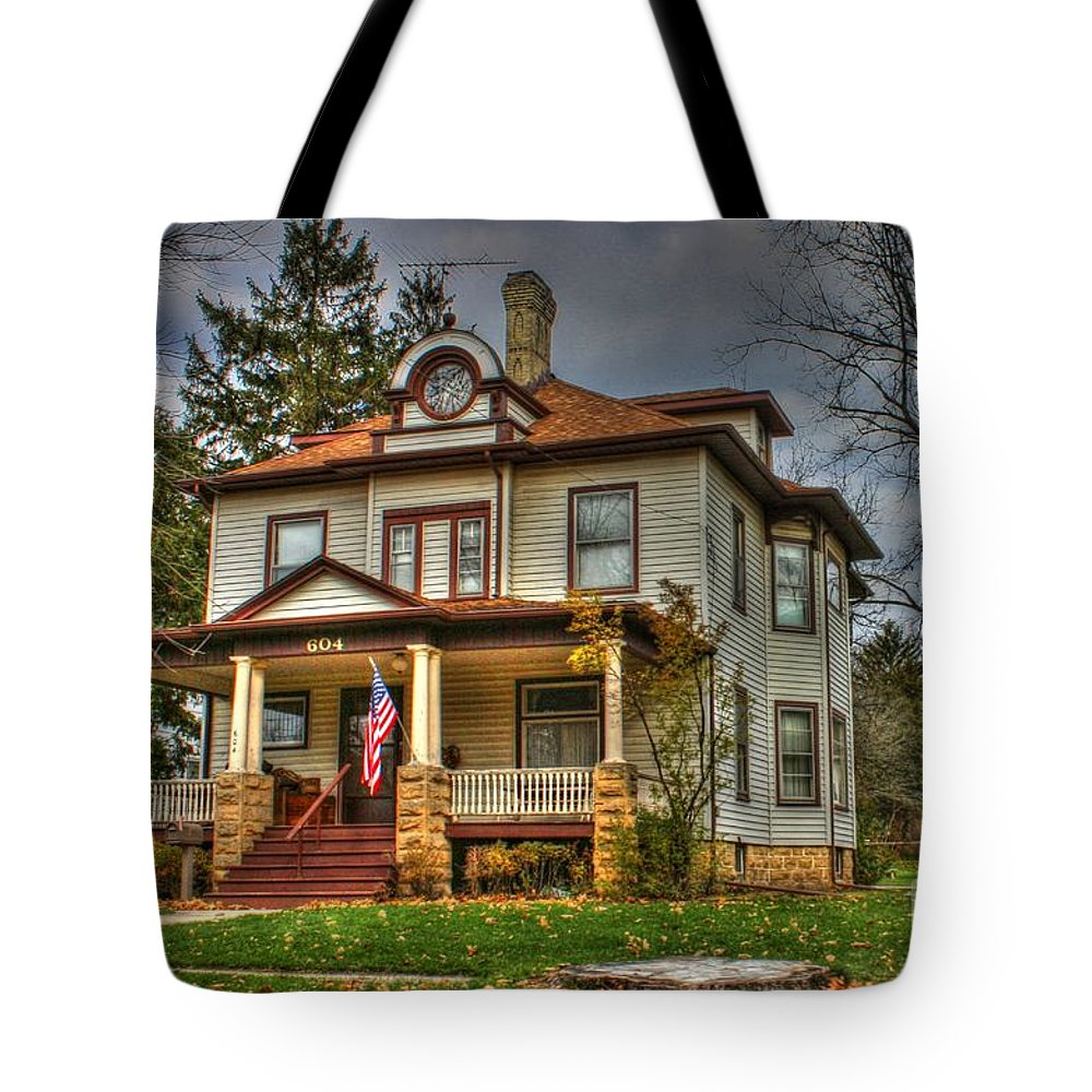 Edgerton Tote Bag featuring the photograph Small Town Patriotism by Tommy Anderson