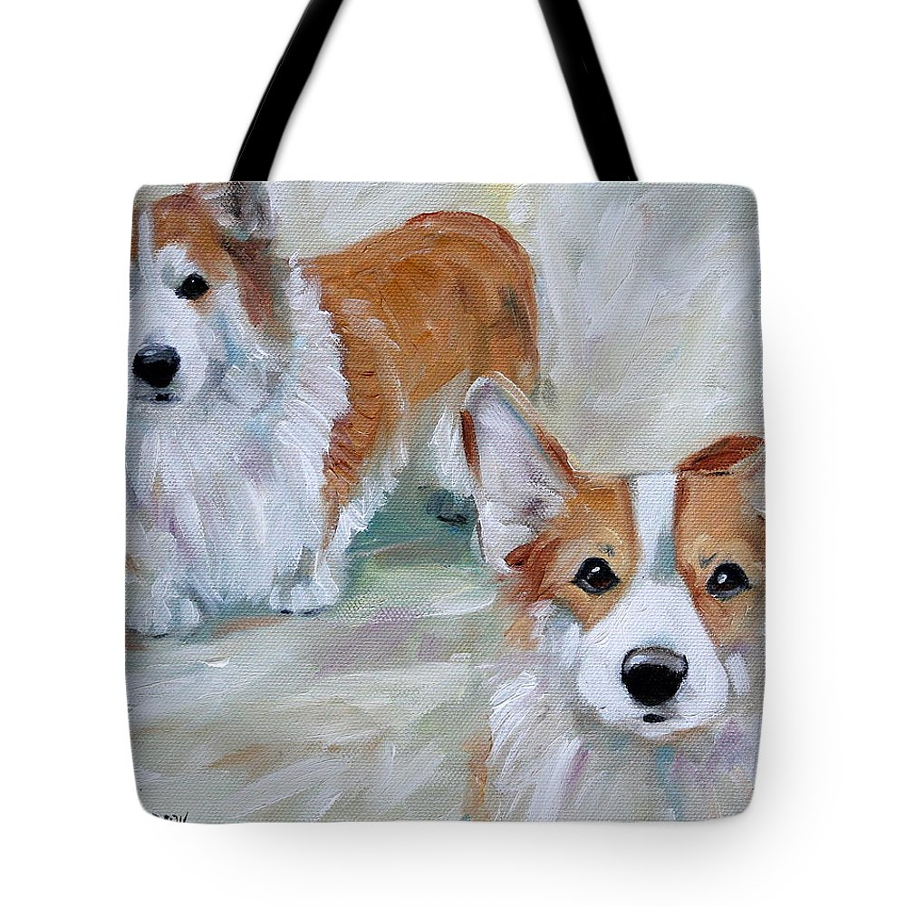 Art Tote Bag featuring the painting Smarty And Rosie by Mary Sparrow