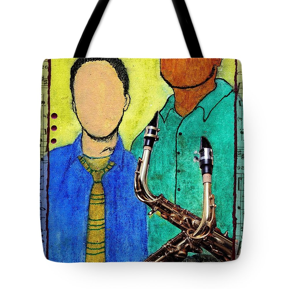 Jazz Tote Bag featuring the mixed media Smooth Jazz by Angela L Walker
