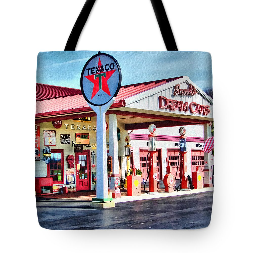 Texaco Gas Stations Tote Bag featuring the digital art Snook's Classic Cars by Tom Schmidt
