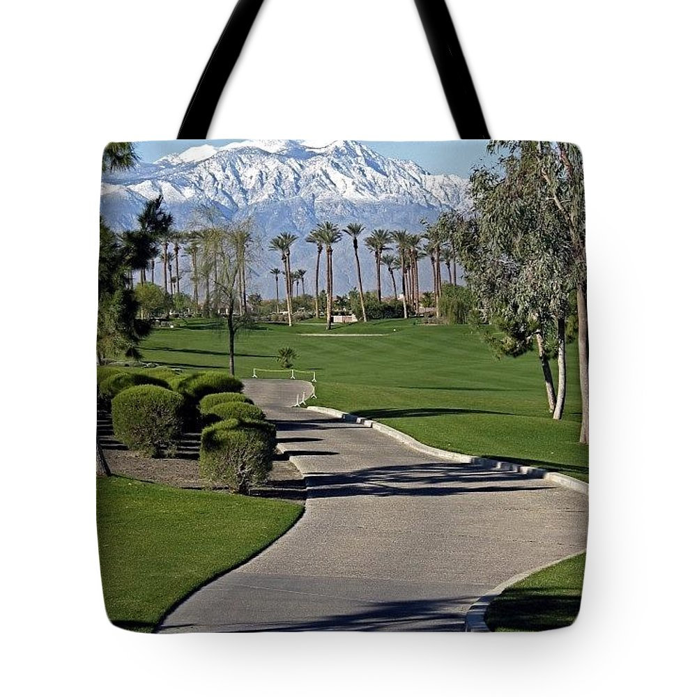 Palm Desert Tote Bag featuring the photograph Snow Capped Mountains In The Desert by Phyllis Kaltenbach