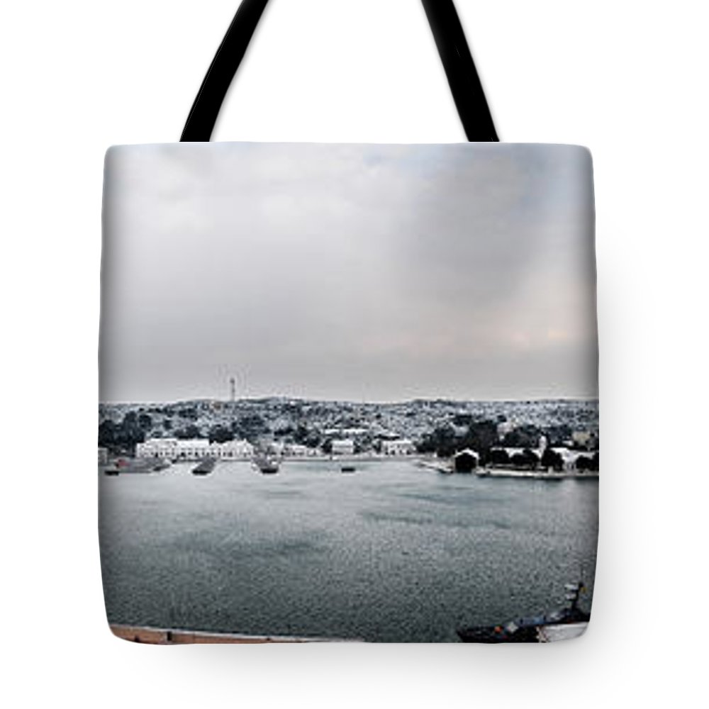 Mediterranean Tote Bag featuring the photograph snow in port mahon - A very rare image of a mediterranean villa sided to sea covered of white by Pedro Cardona Llambias