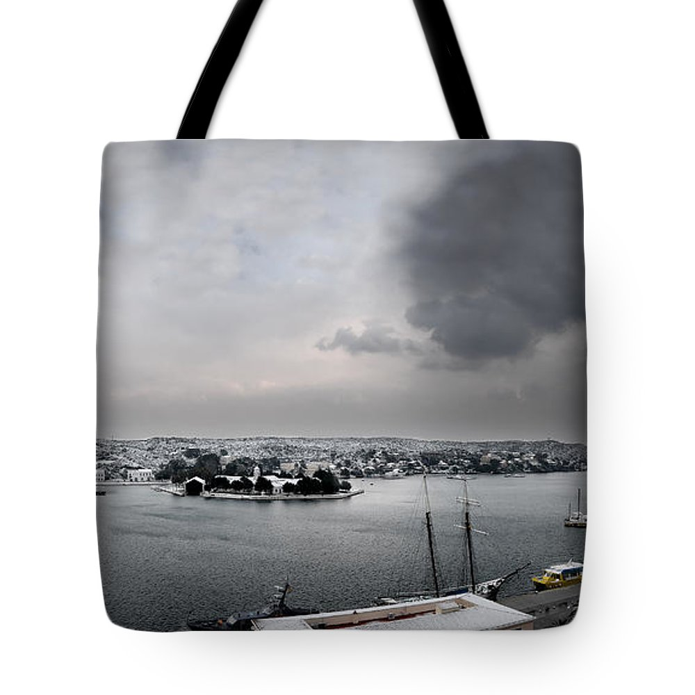 Mediterranean Tote Bag featuring the photograph snow in port mahon - A very rare image of a mediterranean villa sided to sea covered of snow by Pedro Cardona Llambias