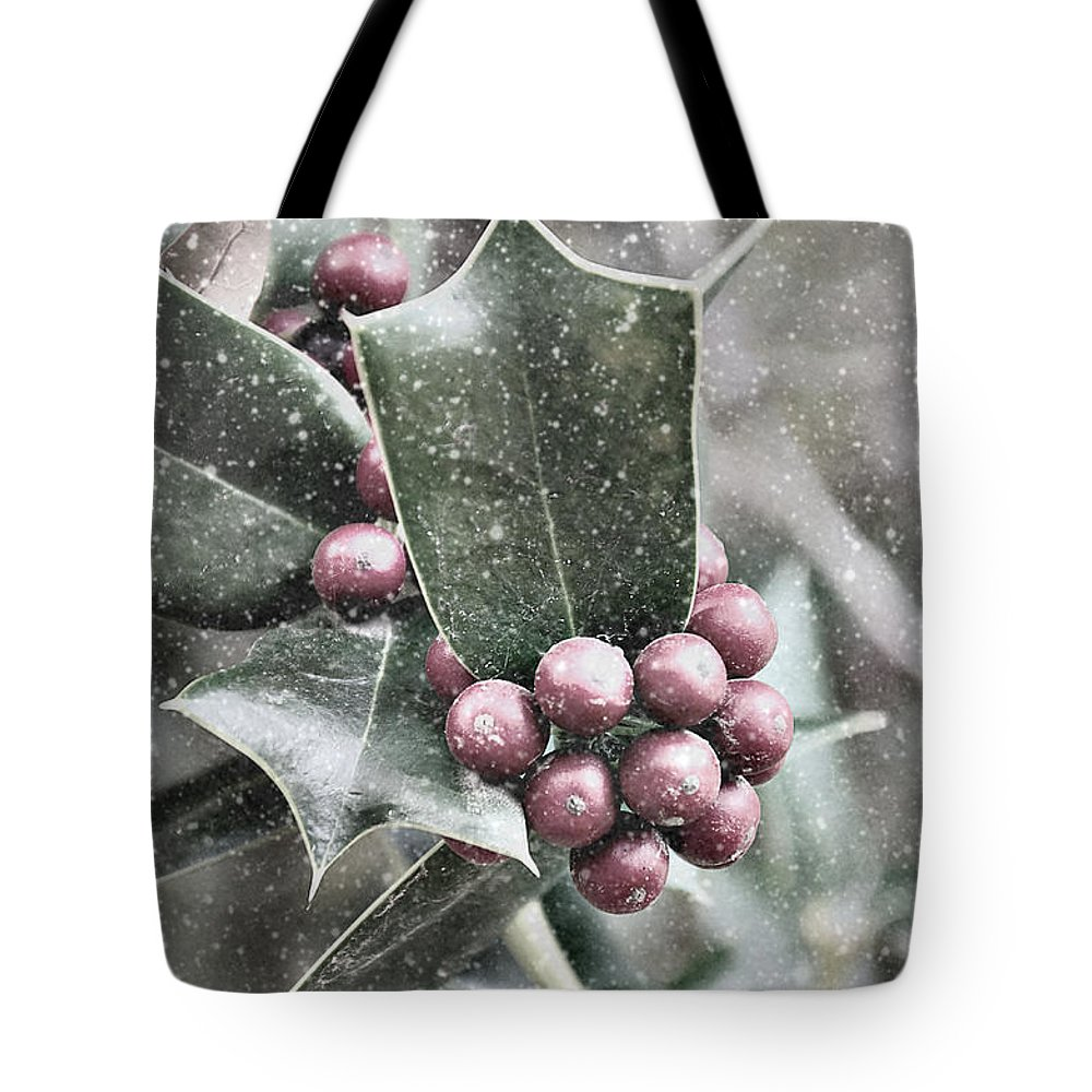 Snow Tote Bag featuring the photograph Snowy Holly by Jim And Emily Bush