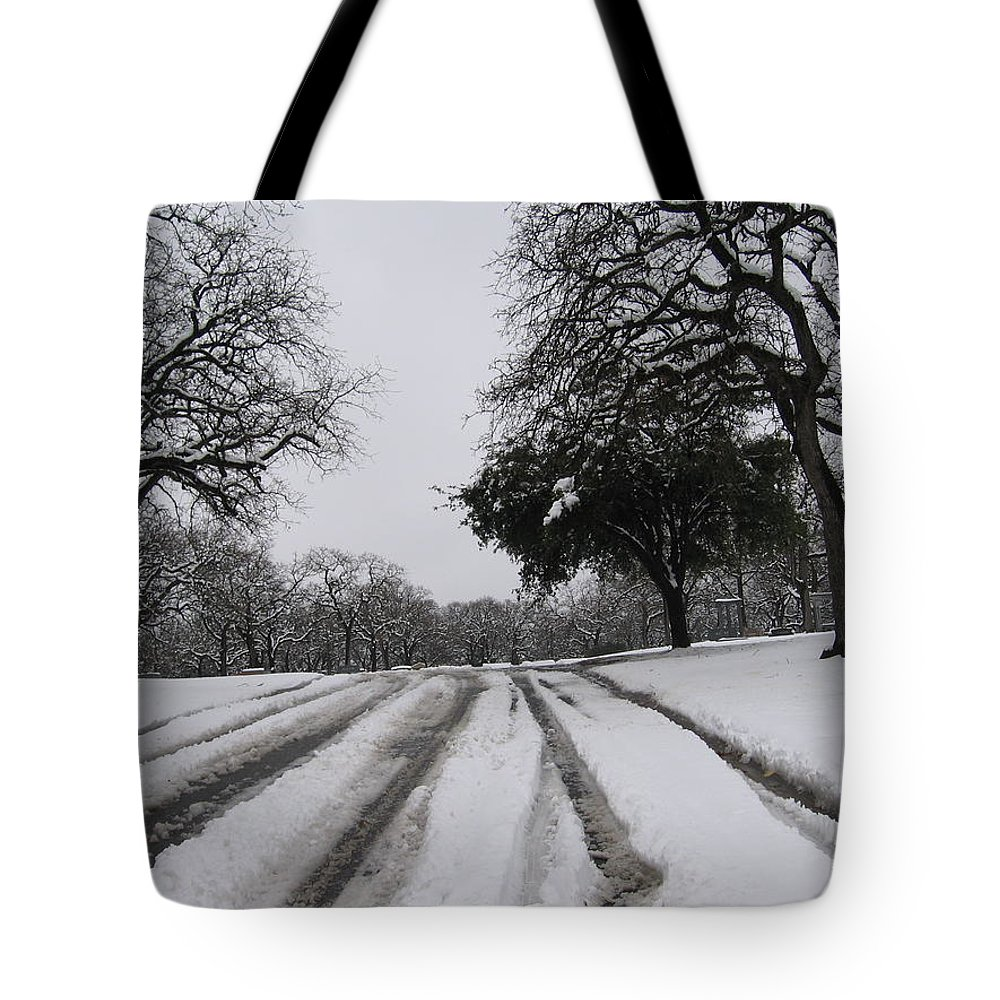 Snow Tote Bag featuring the photograph Snowy Road by Amy Hosp