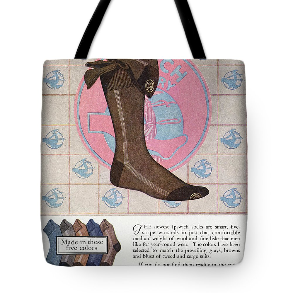 1925 Tote Bag featuring the photograph Sock Advertisement, 1925 by Granger