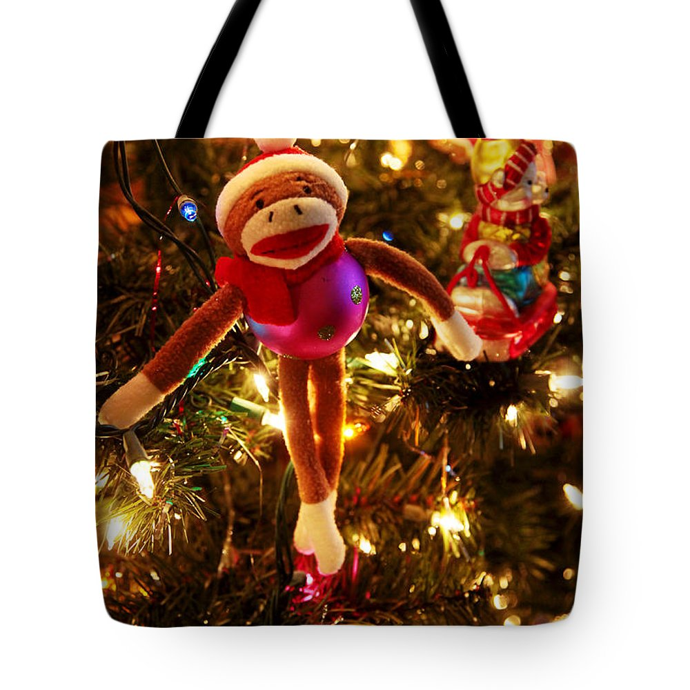 Christmas Tote Bag featuring the photograph Sock Monkey Is In The Season by Toni Hopper