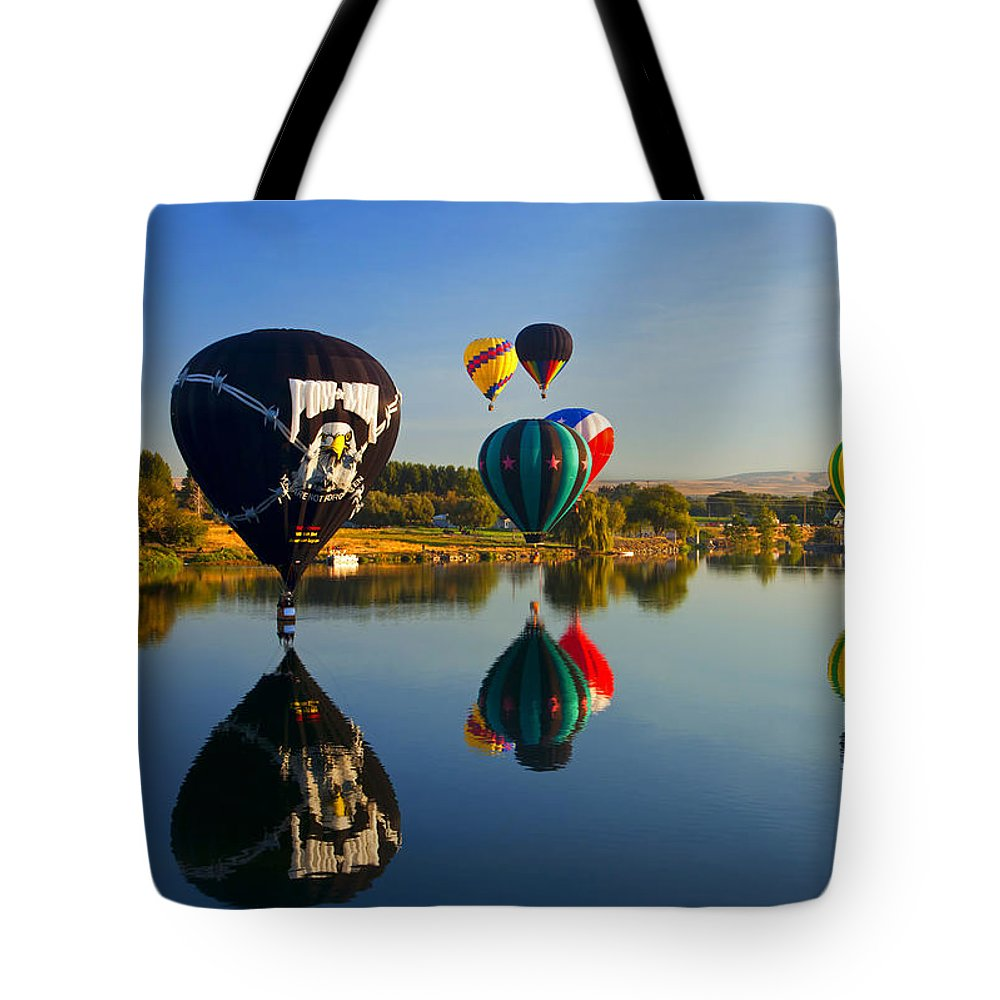 Balloons Tote Bag featuring the photograph Soft Landings by Mike Dawson