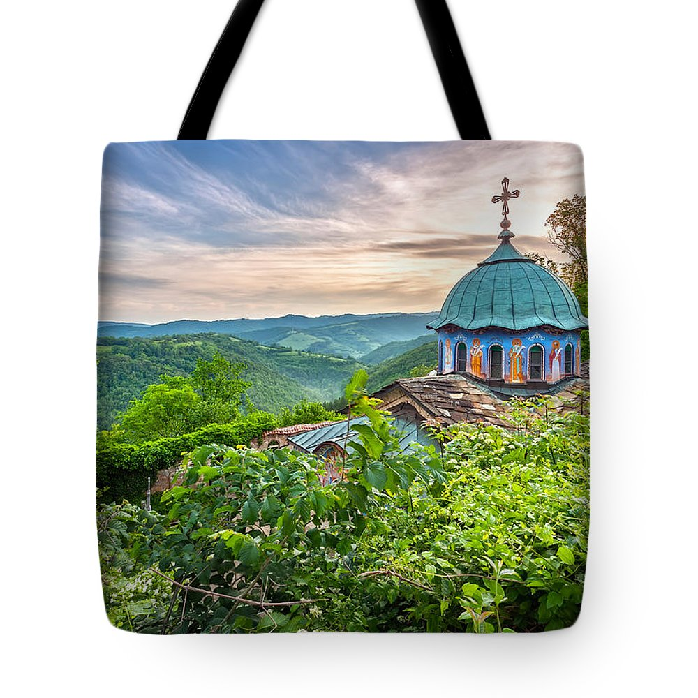 Balkan Mountains Tote Bag featuring the photograph Sokolski Monastery by Evgeni Dinev
