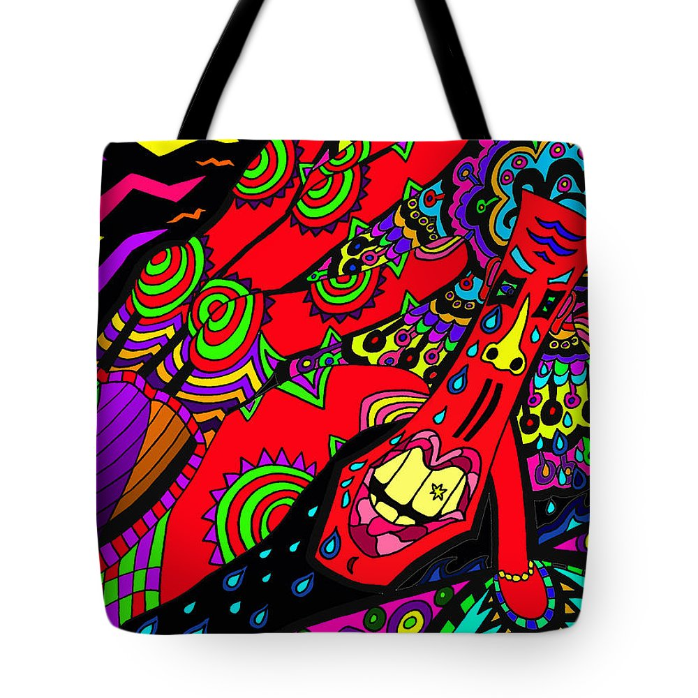 Sore Tote Bag featuring the painting Somebody Pinch Me by Karen Elzinga