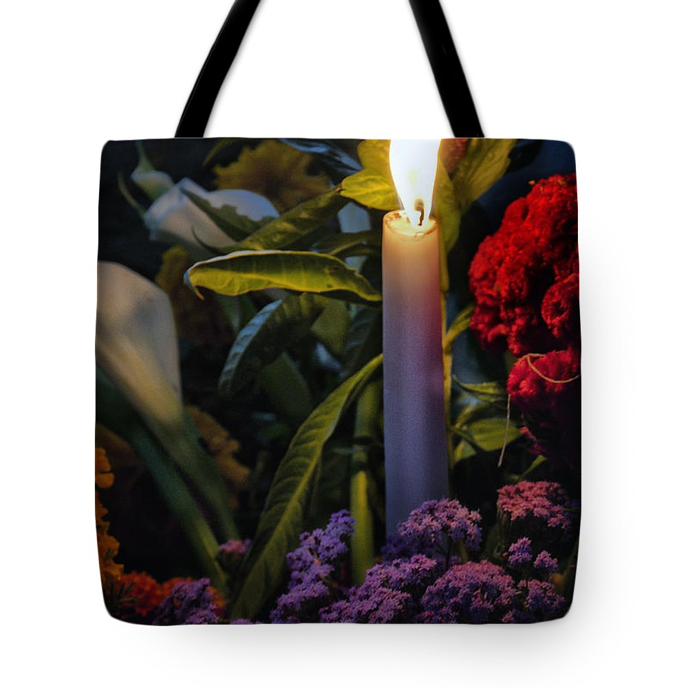 Dia De Muertos Tote Bag featuring the photograph Soothing Candle Light by Javier Barras