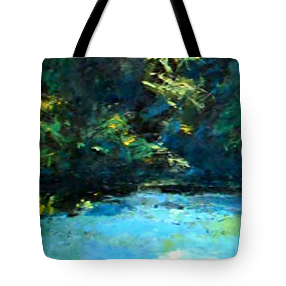 Landscape Tote Bag featuring the painting source of the river Mlava by Vladimir Vlahovic