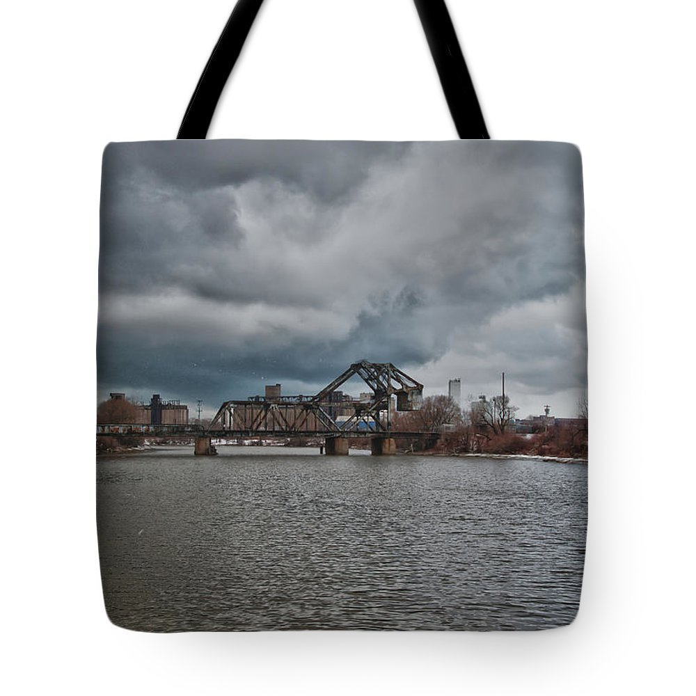 Railroad Tote Bag featuring the photograph South Buffalo Rail Bridge by Guy Whiteley