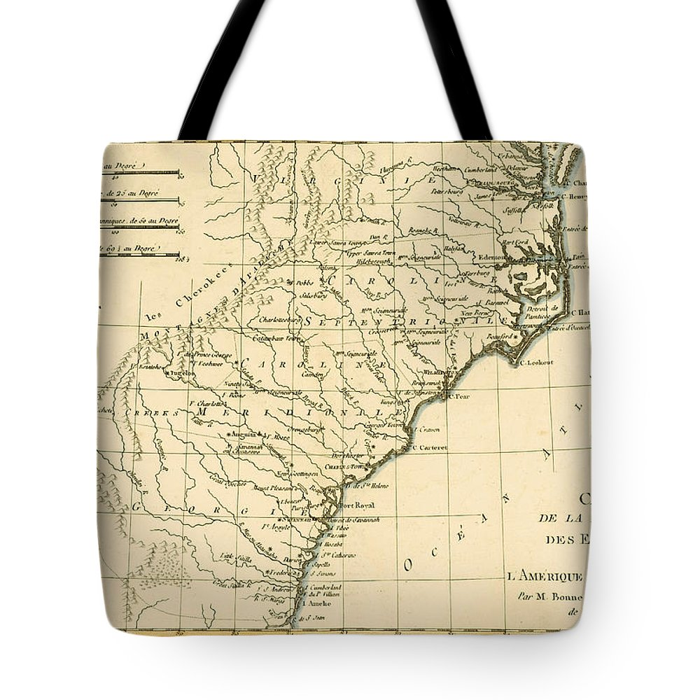 Engraving Tote Bag featuring the drawing Southeast Coast Of America by Guillaume Raynal