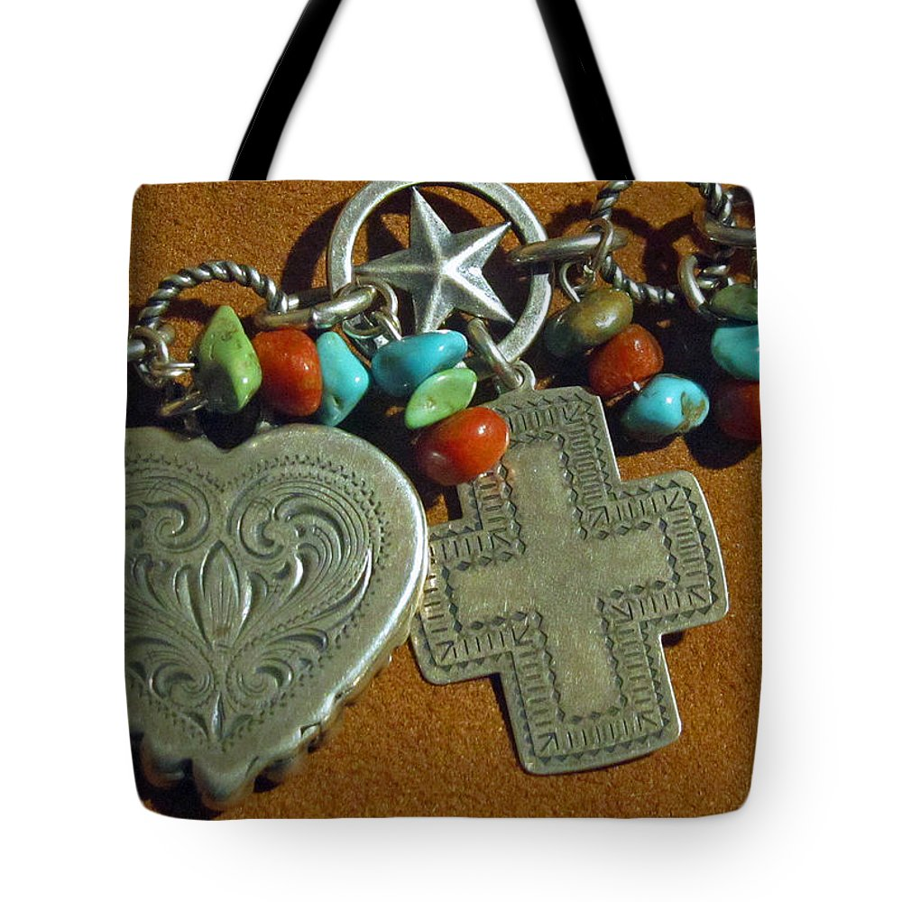Valentines Tote Bag featuring the photograph Southwest Style Jewelry With Texas Star by Elizabeth Rose