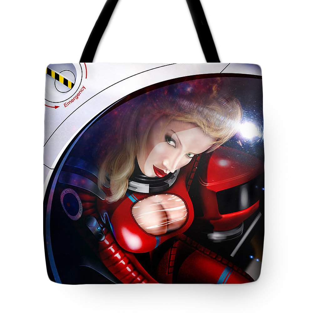Space Tote Bag featuring the digital art Space Girl by Doug Schramm