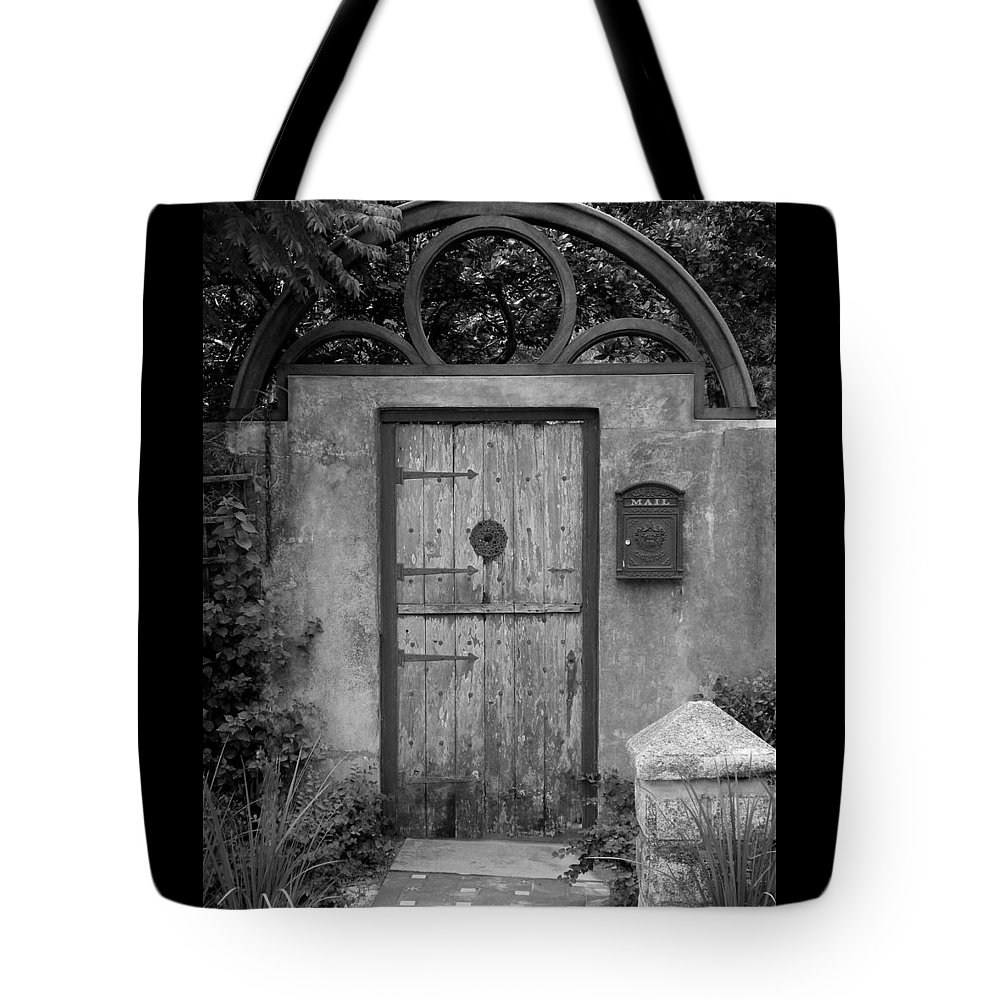 Door Tote Bag featuring the photograph Spanish Renaissance Courtyard Door by Judy Wanamaker