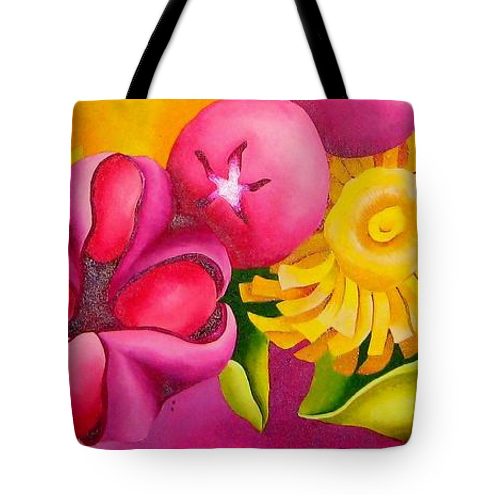 Spatterdock Flower Tote Bag featuring the painting Spatterdock - Panel 3 Of 3 by Elizabeth Elequin