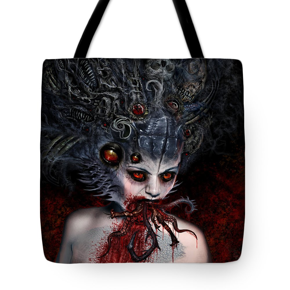 Beyond Cure Tote Bag featuring the mixed media Speaking Lies About The Truth by Tony Koehl