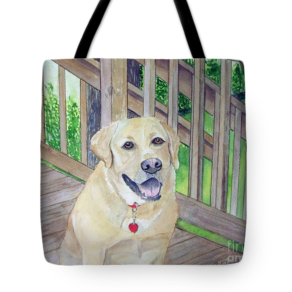 Dog Tote Bag featuring the painting Spencer On Porch by Carol Flagg
