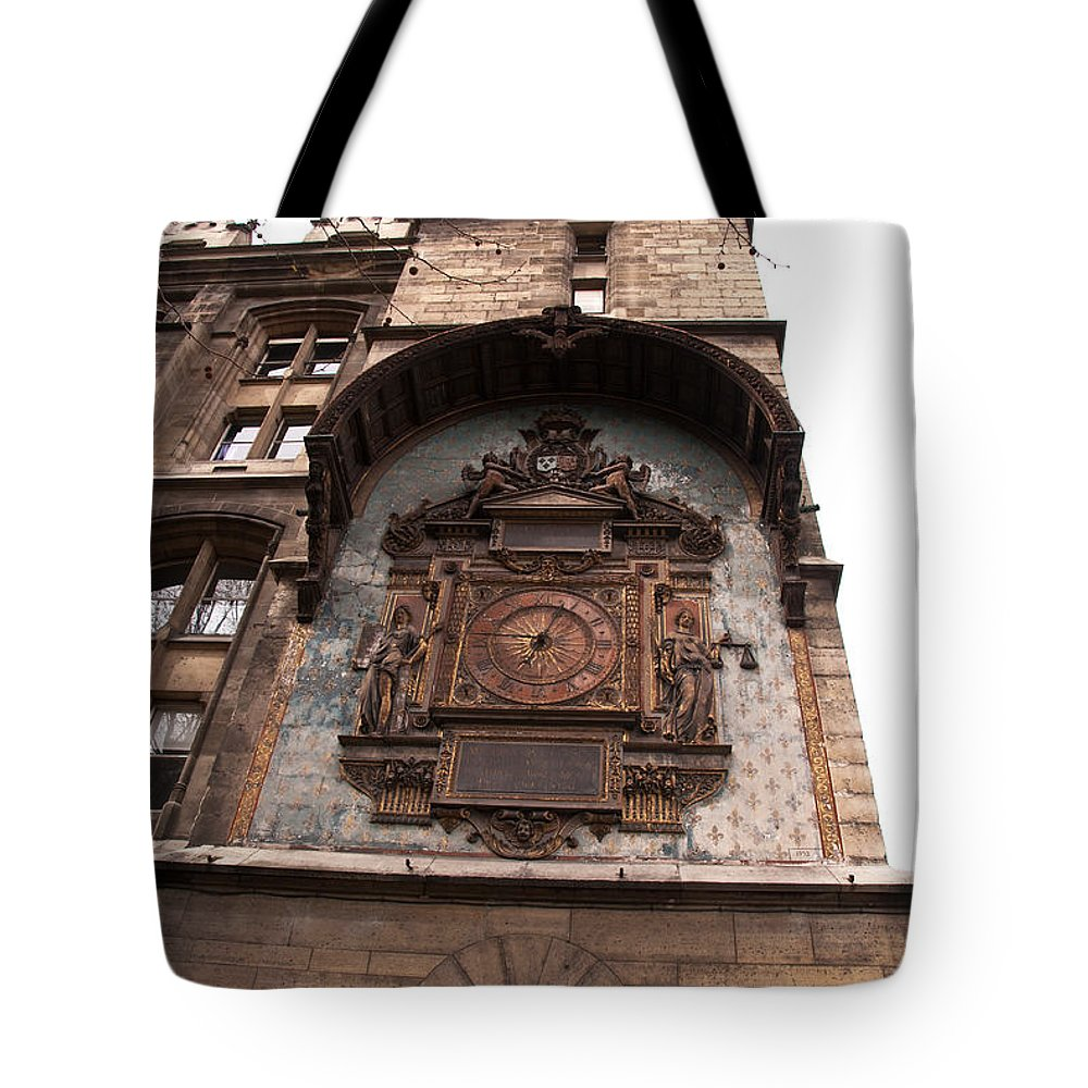 Clock Tote Bag featuring the photograph Spending Time In Paris by Bob and Nancy Kendrick