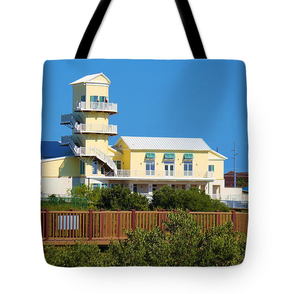 Roena King Tote Bag featuring the photograph Spi Birding Center From The Boardwalk by Roena King