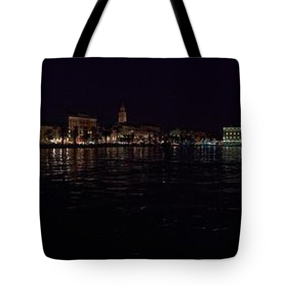2012 Tote Bag featuring the photograph Split Old Town By Night by Jouko Lehto