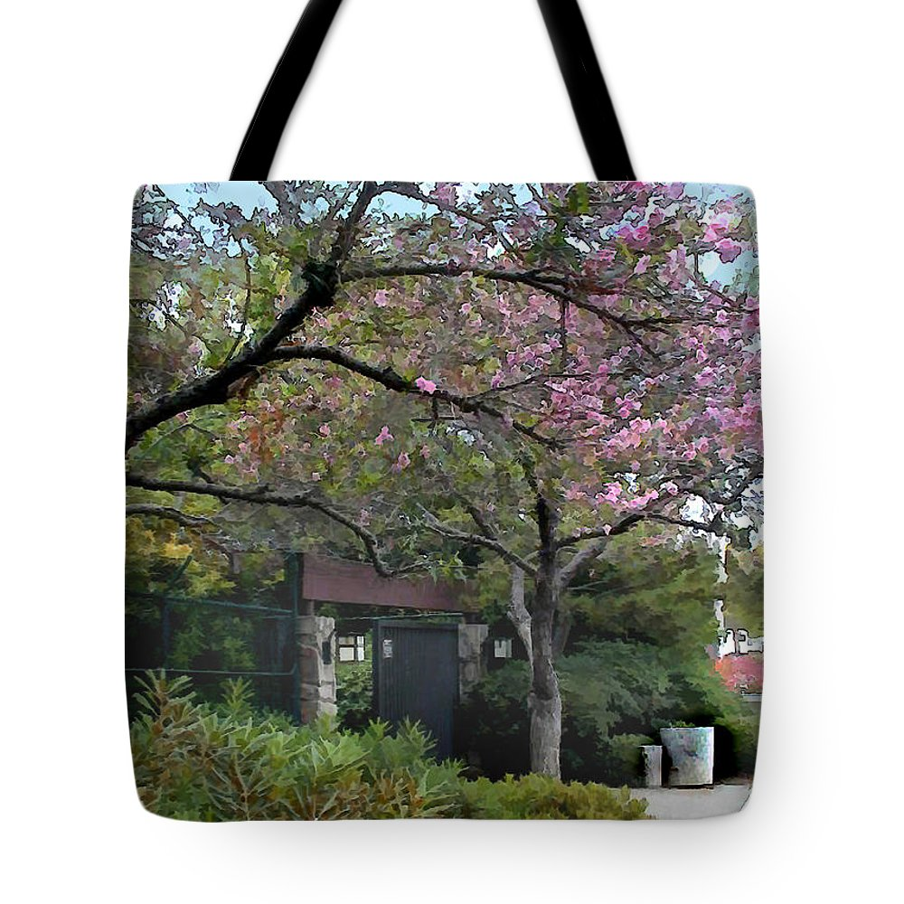 Japanese Garden Tote Bag featuring the painting Spring In Bloom At The Japanese Garden by Elaine Plesser