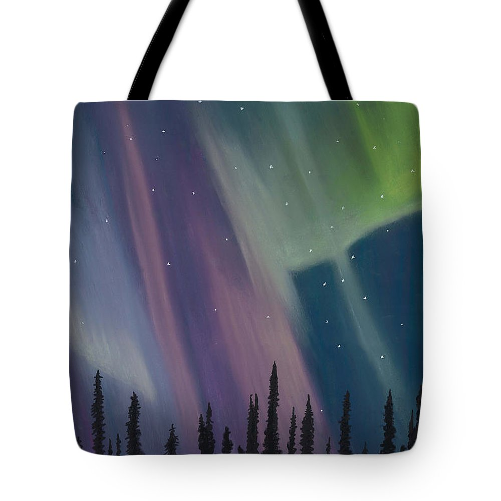 Spruce Trees Tote Bag featuring the drawing Spruce Silhouette by Jackie Novak