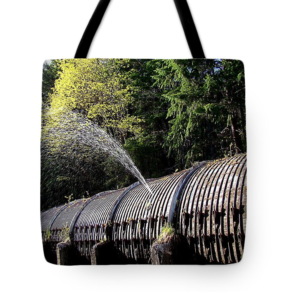 Water Tote Bag featuring the photograph Sprung A Leak by Nick Kloepping