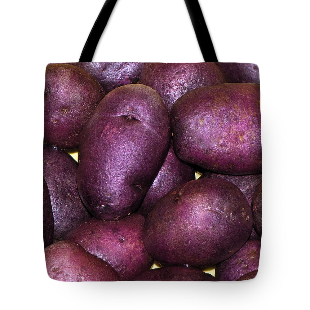 Purple Potatoes Tote Bag featuring the photograph Spuds by Denise Keegan Frawley