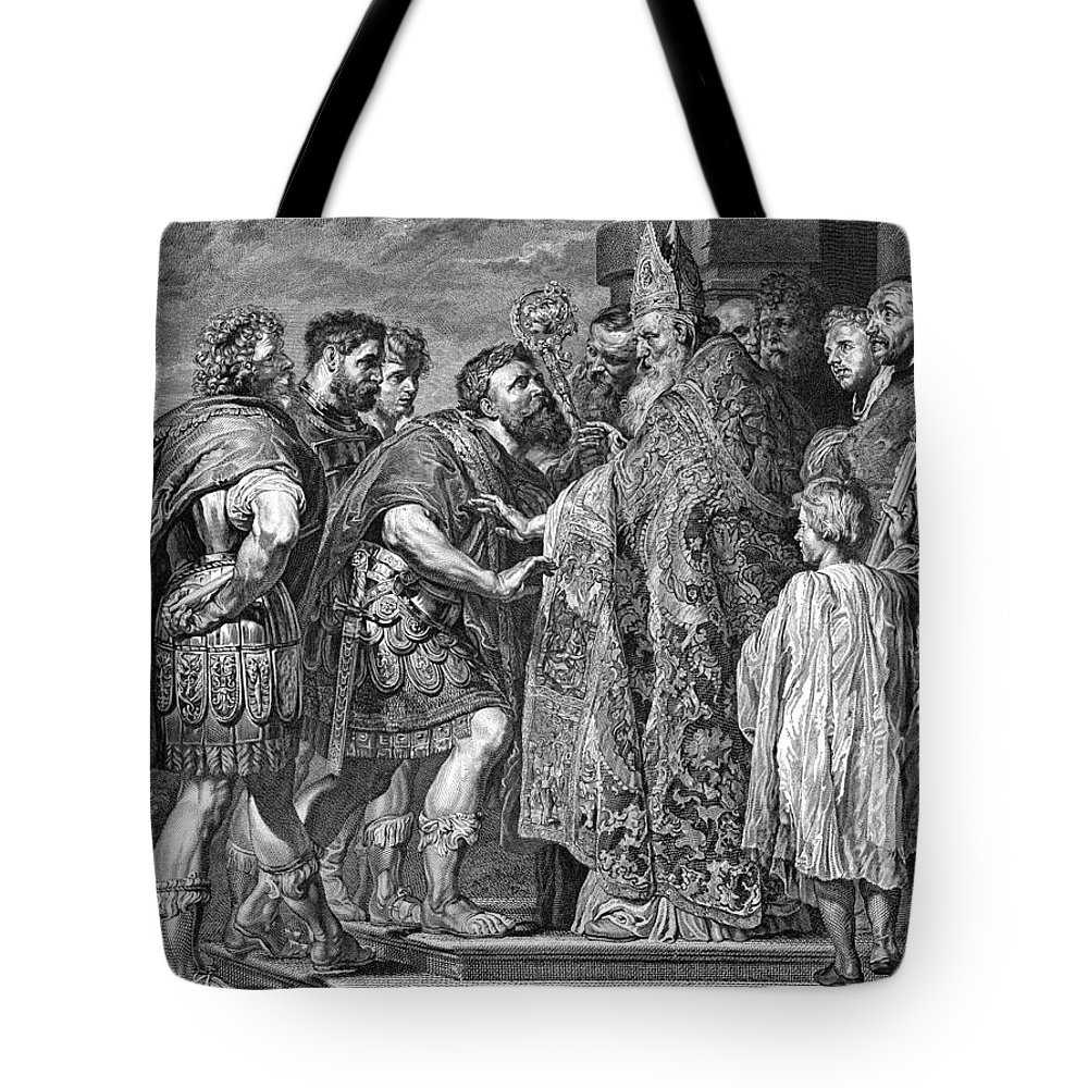 390 Tote Bag featuring the photograph St. Ambrose & Theodosius by Granger