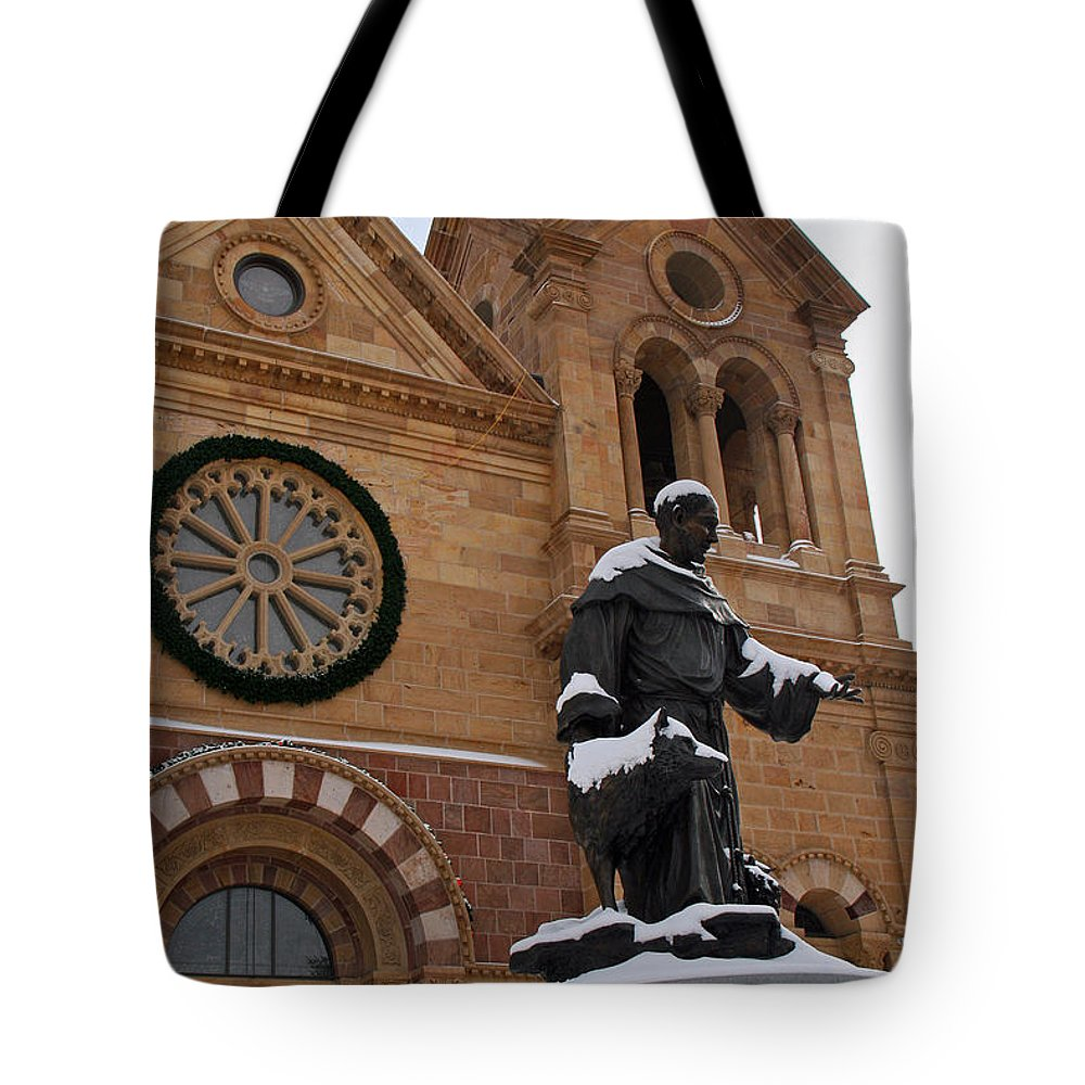 St Francis Cathedral Tote Bag featuring the photograph St Francis Cathedral In Santa Fe - Winter by Elizabeth Rose