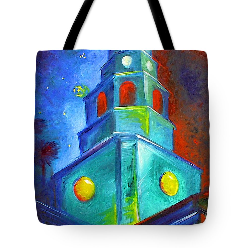 Sky; Impressionist; House; Charleston; Tree; Flowers; Blue; Red; Green; Yellow; Contemporary; Street; Road; Vintage; Old; Southern; Antebellum; James Christopher Hill; Jameshillgallery.com; Ocean; Lakes; Creation; Genesis; Church Tote Bag featuring the painting St. Michael's Church by James Christopher Hill