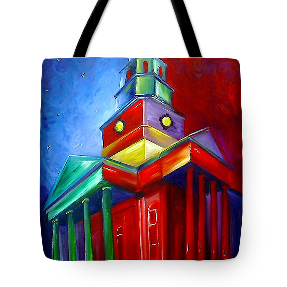 Sky; Impressionist; House; Charleston; Tree; Flowers; Blue; Red; Green; Yellow; Contemporary; Street; Road; Vintage; Old; Southern; Antebellum; James Christopher Hill; Jameshillgallery.com; Ocean; Lakes; Creation; Genesis; Church Tote Bag featuring the painting St. Phillips Church by James Christopher Hill
